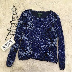 Lemon Grass Women's XL Blue and Black Floral Top